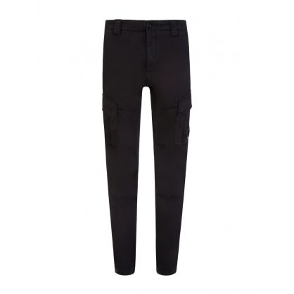 Black Sateen Stretch Cargo Pants