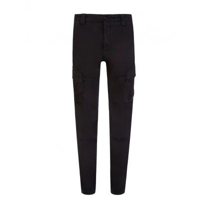 Black Sateen Stretch Cargo Pants