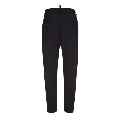 Black Worsted Stretch Wool D2Line Tidy Cargo Trousers