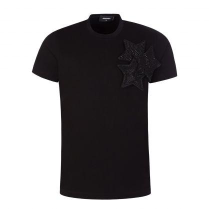 Black 'Three Stars' T-Shirt