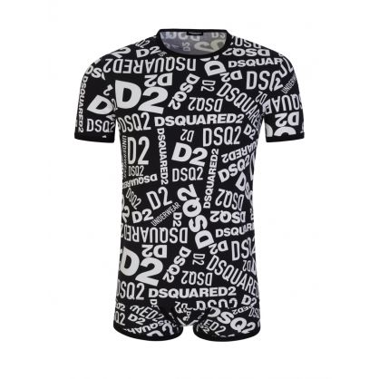 Black Graffiti Print T-Shirt & Boxer Set