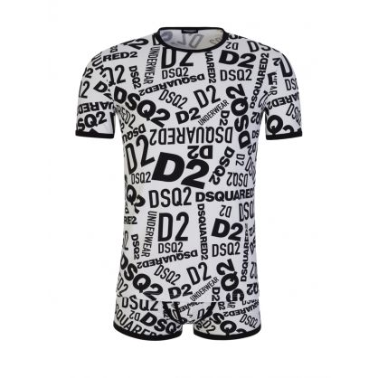 White Graffiti Print T-Shirt & Boxer Set