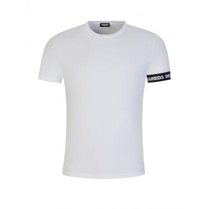 White Cotton Arm Logo T-Shirt