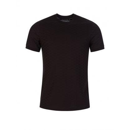 Black Textured Allover Logo T-Shirt