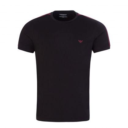 Black Stretch Cotton Crewneck Logo Tape T-Shirt