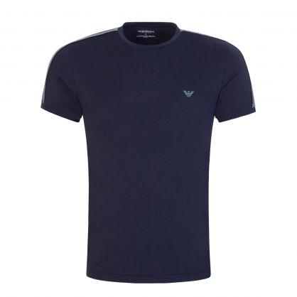 Navy Stretch Cotton Crewneck Logo Tape T-Shirt