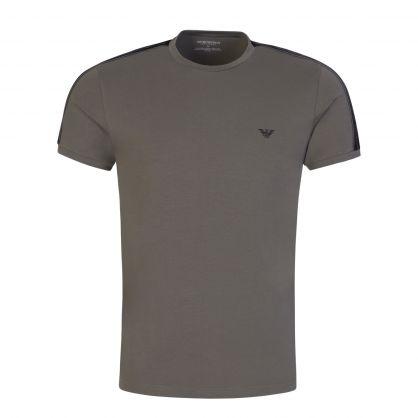 Brown Stretch Cotton Crewneck T-Shirt