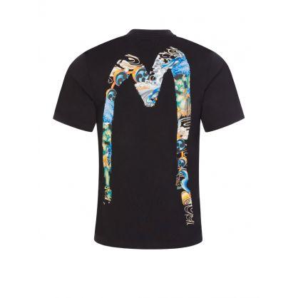 Black Fuijin Daicock Print T-Shirt