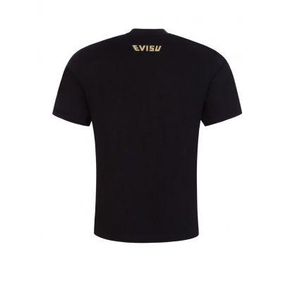 Black Brocade Seagull Appliqué T-shirt