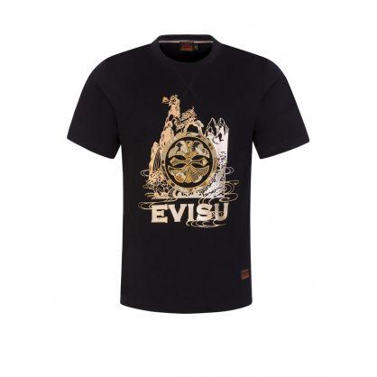 Black Brocade Kamon Appliqué T-shirt