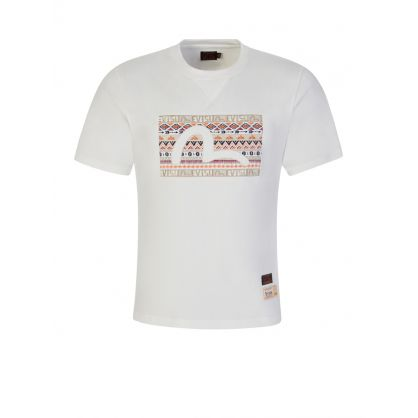 White Folklore Pattern Seagull Embroidered T-Shirt