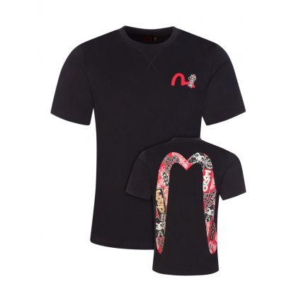 Black Godhead & Kamon-Patterned Daicock Print T-Shirt