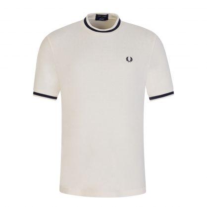 Ecru Textured Pique T-Shirt