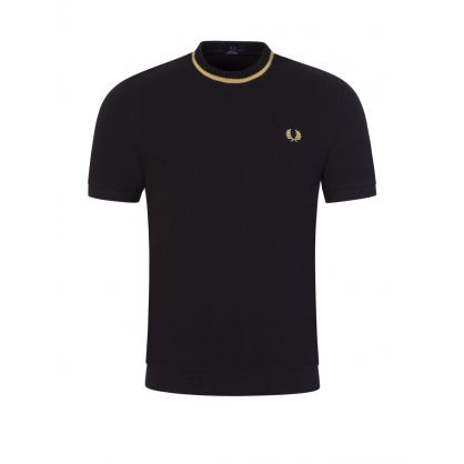 Black Crew Neck Pique T-Shirt