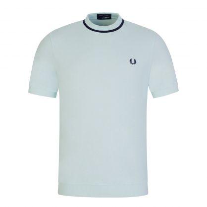 Cyan Crew Neck Piqué T-Shirt