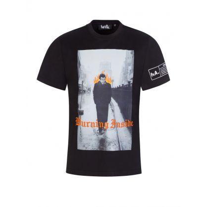 Black 'Burning Inside' T-Shirt