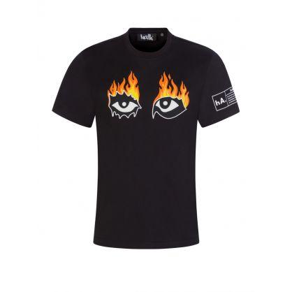 "Black ""Eyes On Fire"" T-Shirt"