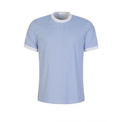 White/Blue Striped Logo T-Shirt