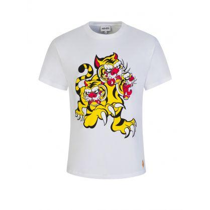 x Kansai Yamamoto White Three Tigers T-Shirt