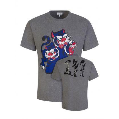 x Kansai Yamamoto Grey Three Tigers T-Shirt in Grey