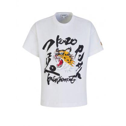 x Kansai Yamamoto White Roaring Cheetah T-Shirt