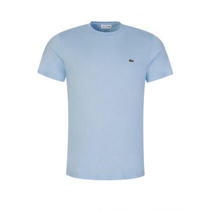 Blue Cotton-Blend Crocodile Bands T-Shirt
