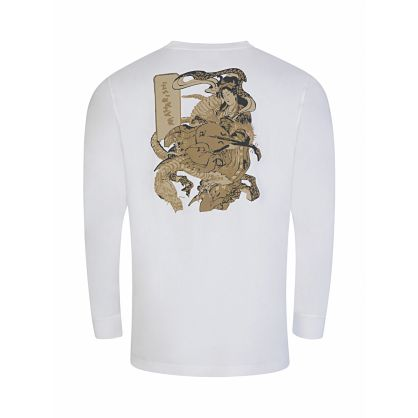White 'Dragons Journey' Woodblock Print T-Shirt