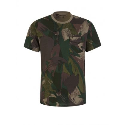 Green Purples Camo-Print T-Shirt