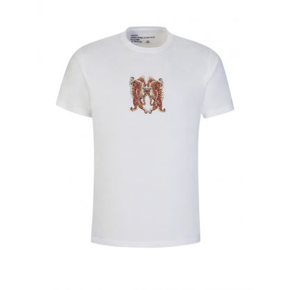 White Heart of Tigers Embroidered T-Shirt