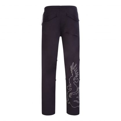 Black 3M Dragon Embroidered Snopants