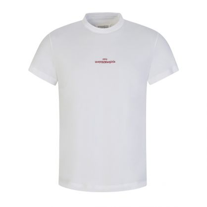 White Upside-Down Distorted Logo T-Shirt