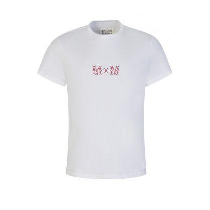 White Cross-Stitch MM Logo T-Shirt