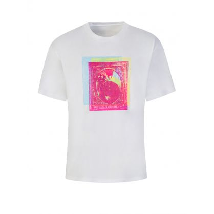 White Oversized-Fit Stamps Logo T-Shirt