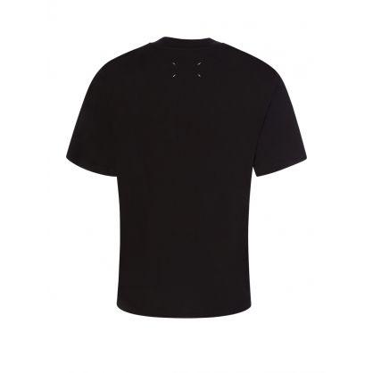 Black Oversized-Fit Stamps Logo T-Shirt