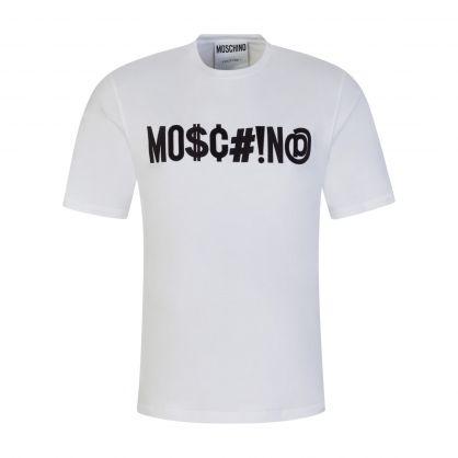 White Embroidered Symbols Logo T-Shirt