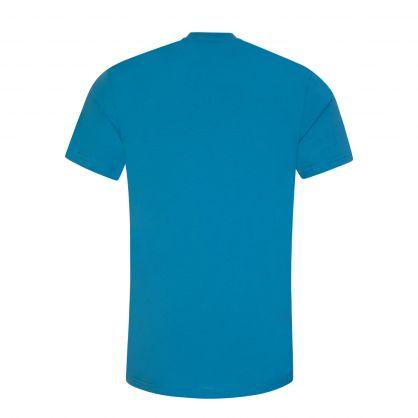 Blue Cotton Logo Print T-Shirt
