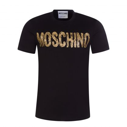 Couture Black Painted Gold Logo T-Shirt
