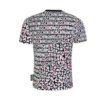 Black Leopard-Print Logo T-Shirt