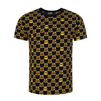 Black/Gold Underwear Chain-Print T-Shirt