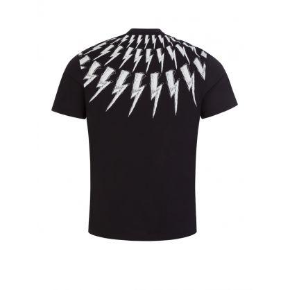 Black Slim-Fit Scribble Thunderbolt Print T-Shirt