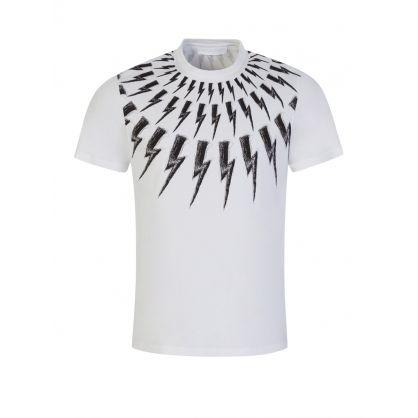 White Slim-Fit Scribble Thunderbolt Print T-Shirt