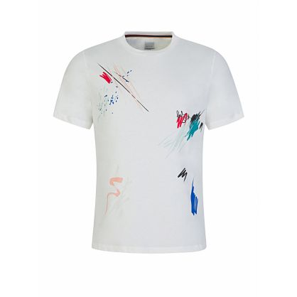 White 'Marker Pen' Print T-Shirt