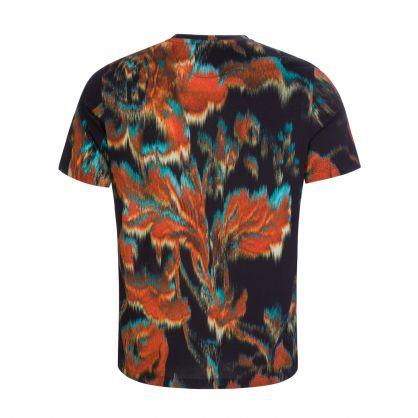 Black 'Disrupted Rose' Print T-Shirt
