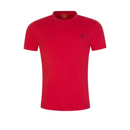 Red Cotton Basic Logo T-Shirt
