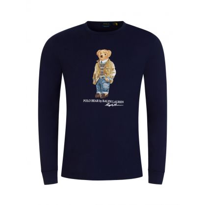 Navy Custom Slim-Fit Long-Sleeve Polo Bear T-Shirt