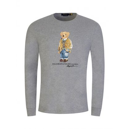 Grey Custom Slim-Fit Long-Sleeve Polo Bear T-Shirt