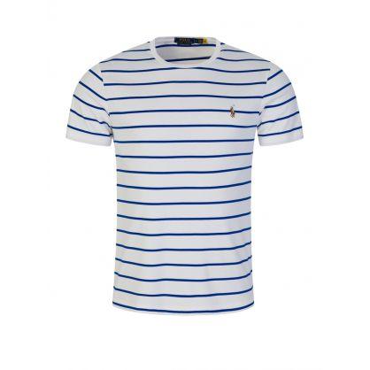 White/Blue Stripe Interlock Cotton T-Shirt