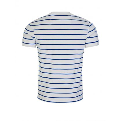 White/Blue Stripe Interlock Cotton T-Shirt