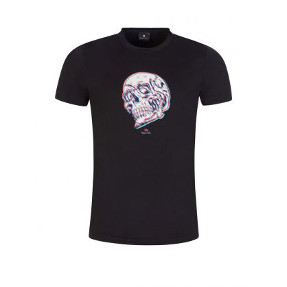 Black 'Trippy Skull' Print T-Shirt