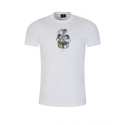 White Slim-Fit Organic Cotton 'Skull' Print T-Shirt